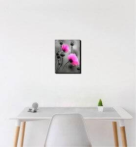 Petit Tableau Fleurs de pavot rose monochrome