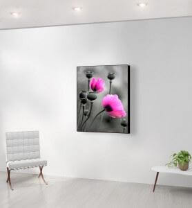 Moyen Tableau Fleurs de pavot rose monochrome