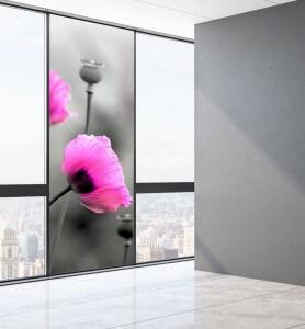 Vitrophanie Fleurs de pavot rose monochrome