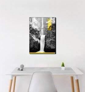 Moyen Tableau Les chutes de Multnomah monochrome