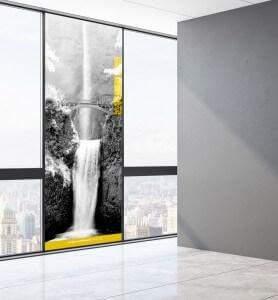 Vitrophanie Tableau Les chutes de Multnomah monochrome