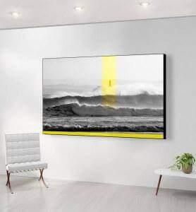 Grand Tableau Phare sur l'Ile de Mouro monochrome