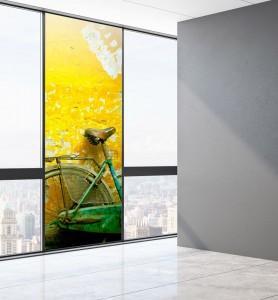 Vitrophanie Bicyclette verte
