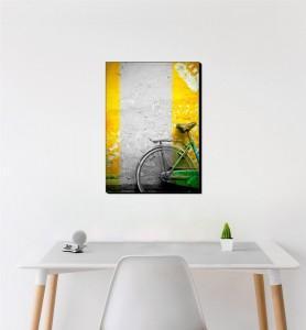 Moyen Tableau Bicyclette verte noir et blanc