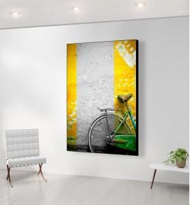 Grand Tableau Bicyclette verte noir et blanc