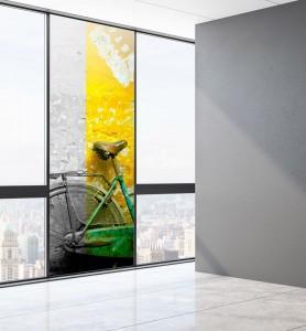 Vitrophanie Bicyclette verte noir et blanc