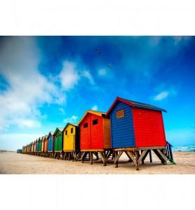 Tableau Cabanes colorées en Afrique du sud
