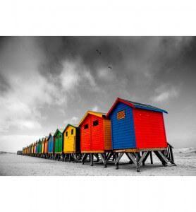 Tableau Cabanes colorées en Afrique du sud noir et blanc