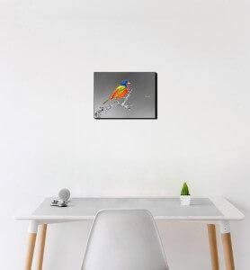 Petit Tableau Passerin l'oiseau multicolore noir et blanc