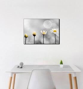 Moyen Tableau Naissance d'une fleur noir et blanc