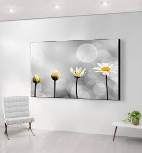 Grand Tableau Naissance d'une fleur noir et blanc