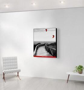 Moyen Tableau Cerfs-volants en Andalousie noir et blanc