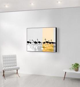 Moyen Tableau Flamands dorés noir et blanc