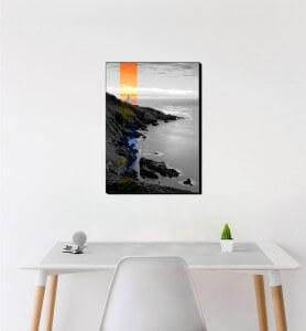 Moyen Tableau Coucher de soleil sur le phare noir et blanc