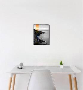 Petit Tableau Coucher de soleil sur le phare noir et blanc