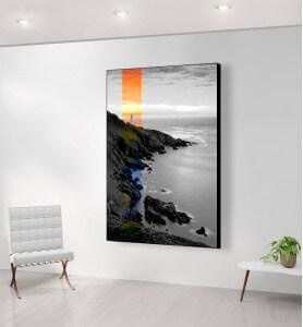 Grand Tableau Coucher de soleil sur le phare noir et blanc