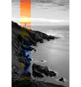Tableau Coucher de soleil sur le phare noir et blanc