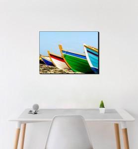 Moyen Tableau Barques de pêcheurs colorées