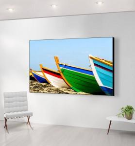 Grand Tableau Barques de pêcheurs colorées