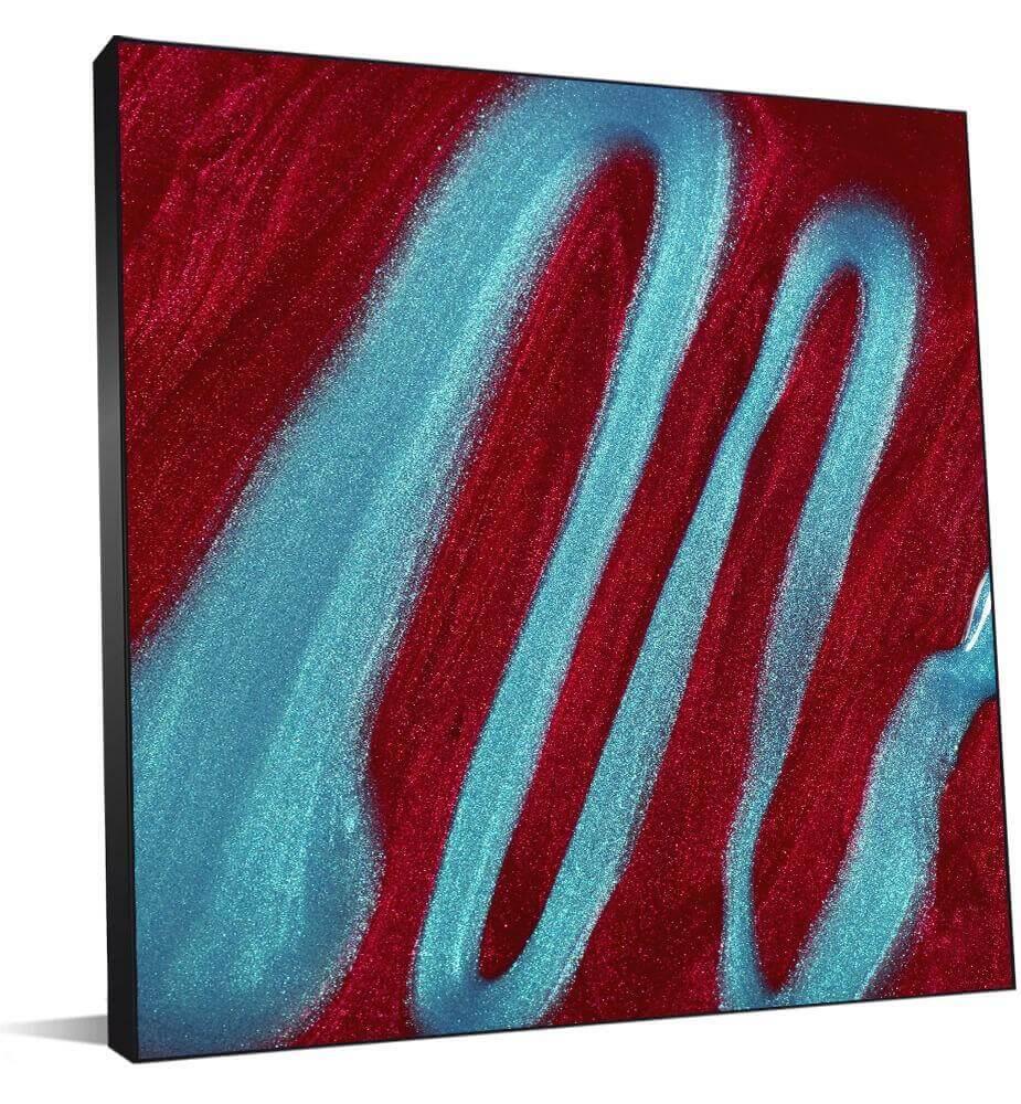 Cadre photo abstrait en rouge et bleu