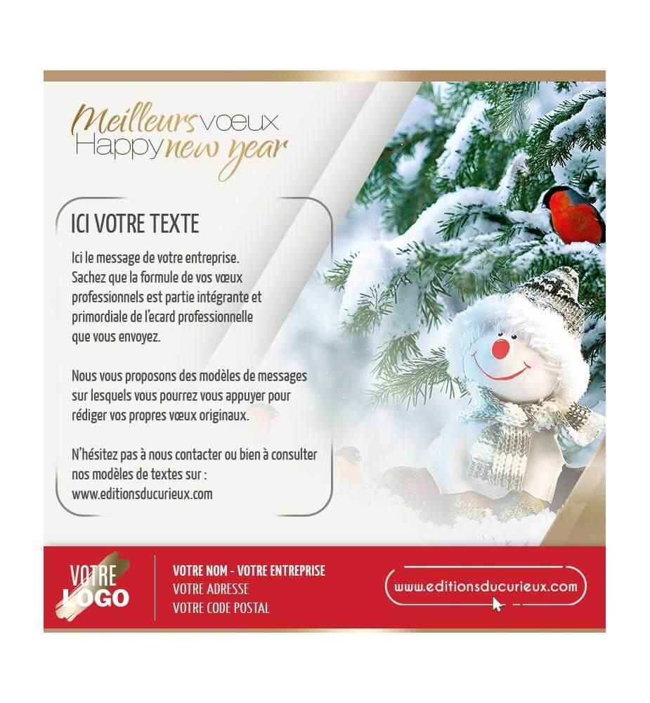 Carte virtuelle Noël bonhomme de neige