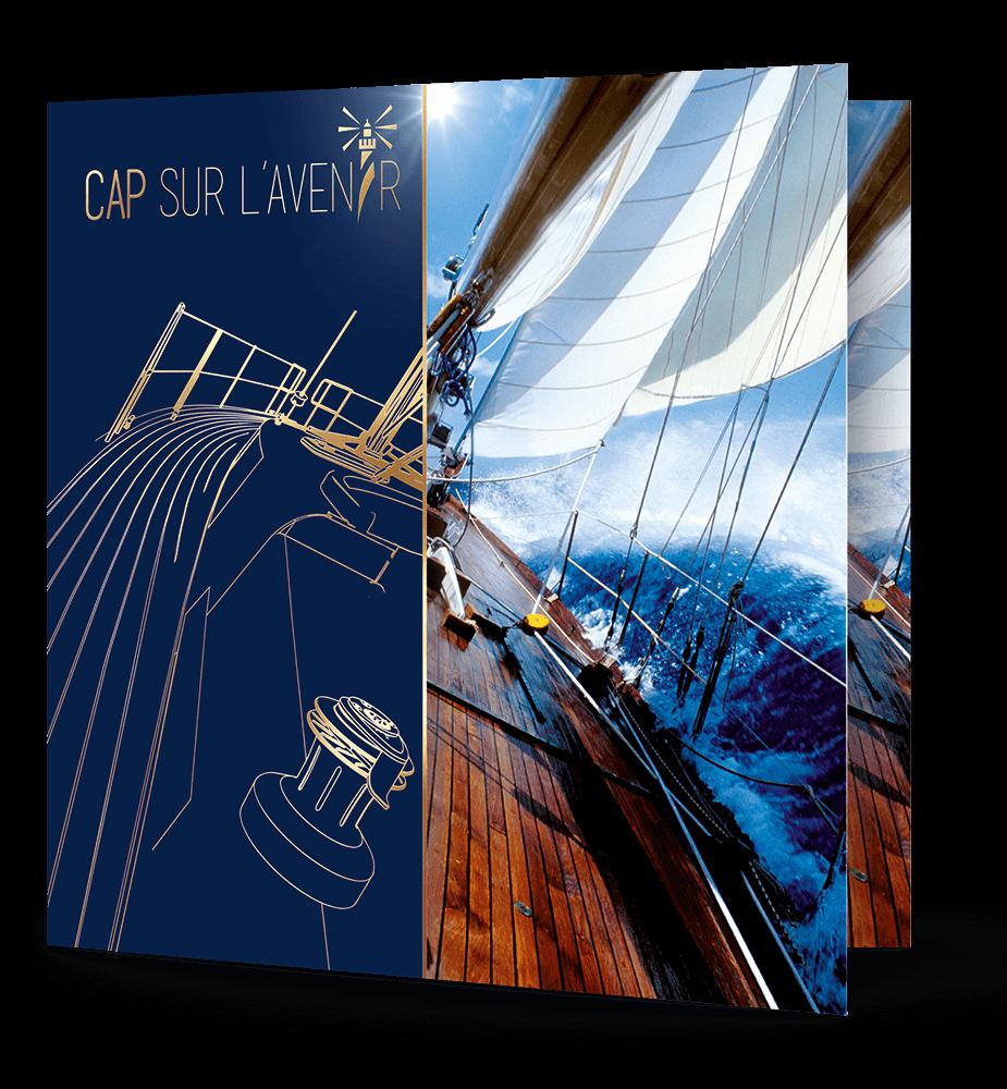 Carte vœux bleue voilier