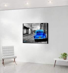 Moyen Tableau Vieille voiture à Cuba noir et blanc