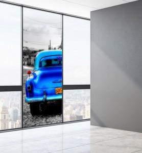 Vitrophanie Vieille voiture à Cuba noir et blanc