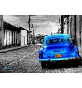 Tableau Vieille voiture à Cuba noir et blanc