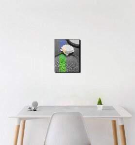 Petit Tableau décoration Fleur de nénuphar noir et blanc