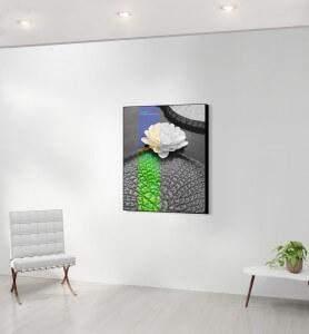 Moyen Tableau décoration Fleur de nénuphar noir et blanc
