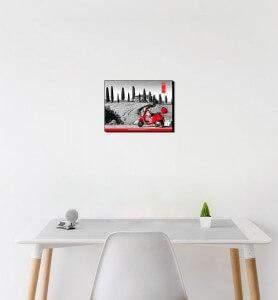 Petit Tableau décoration Vespa en Toscane noir et blanc