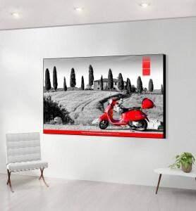 Grand Tableau décoration Vespa en Toscane noir et blanc