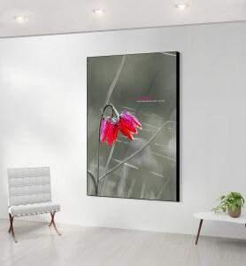 Grand Tableau décoration Fleur sauvage noir et blanc