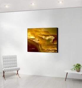 Moyen Tableau décoration Tempête dorée