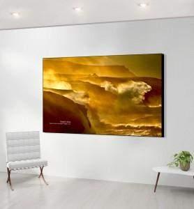 Grand Tableau décoration Tempête dorée