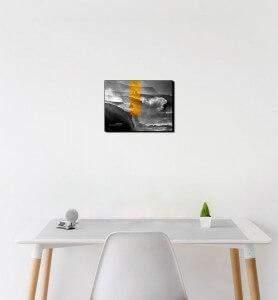 Petit Tableau décoration Tempête dorée noir et blanc