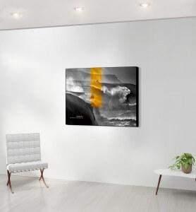 Moeyen Tableau décoration Tempête dorée noir et blanc