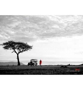 Tableau décoration Maasaï au Kenya noir et blanc