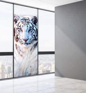 Vitrophanie Tableau décoration Tigre blanc