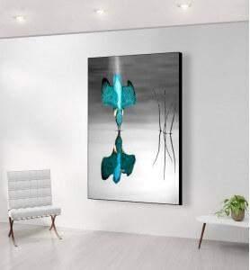 Grand Tableau Plongeon du Martin pêcheur noir et blanc