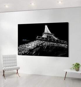 Grand Tableau décoration Eiffel effect noir et blanc