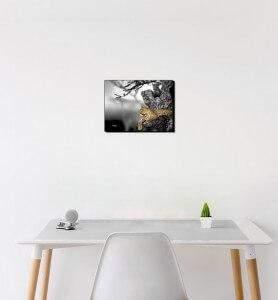 Petit Tableau Le regard du Léopard noir et blanc