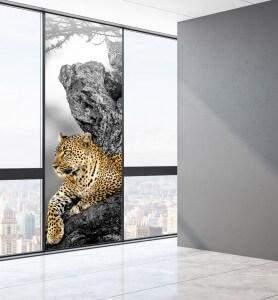 Vitrophanie Tableau Le regard du Léopard noir et blanc
