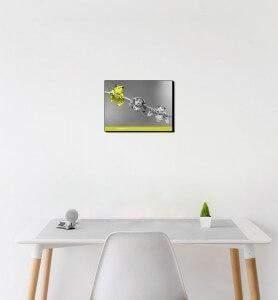 Petit Tableau décoration Grenouille jaune noir et blanc