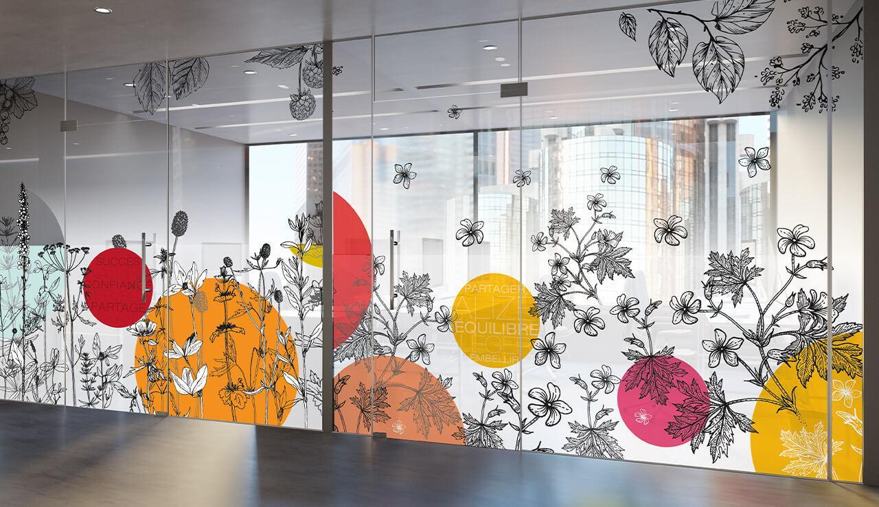 Décoration Murale Bureau Entreprise vitrophanie et tableau décoration d'entreprise - signalétique